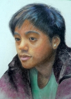 Chhetri Spencer<BR>pastel on paper<BR>37.5 x 55 cm<BR>2011