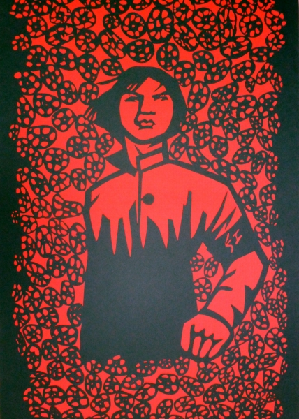 &quot;forever determined&quot;<br/> black paper cut-out on red paper<br/> 81 x 119 cm<br/> 2012