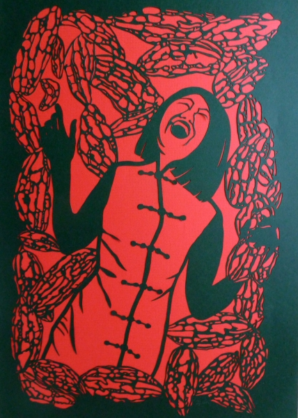 &quot;having fun out of bitter past&quot;<br/> black paper cut-out on red paper<br/> 81 x 119 cm<br/> 2012