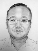 Jaharman Limbu<BR>pencil on paper<BR>37.5 x 55 cm<BR>2010