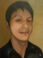 Sunapra Darshan<BR> waiter<BR> acrylic on canvas<BR> 50.8 x 60.6 cm<BR> 2011