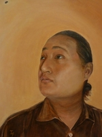 Puspa Gurung<BR> waiter<BR> acrylic on canvas<BR> 50.8 x 60.6 cm<BR> 2011