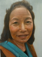 Pusapa Rai<BR> domestic helper<BR> acrylic on canvas<BR> 50.8 x 60.6 cm<BR> 2011