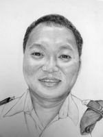 Lil Bahadur Gurung<BR>pencil on paper<BR>37.5 x 55 cm<BR>2010