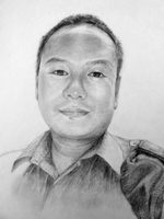 Milan Gurung<BR>pencil on paper<BR>37.5 x 53 cm<BR>2010