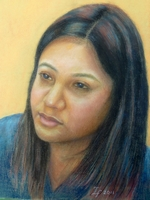 Neeta Thapa<BR>Nepalese Engaging the Community Ambassador for Yau Tsim Police District<BR>pastel on paper<BR>37.5 x 55 cm<BR>2011