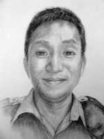 Om Prasad Gurung<BR>pencil on paper<BR>37.5 x 53 cm<BR>2010