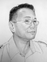 Prem Kaji Gurung<BR>pencil on paper<BR>37.5 x 53 cm<BR>2010