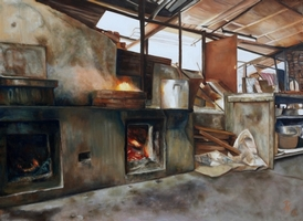 wood-burning stove<br/>oil on canvas,<br/>101 cm (w) x 76 cm (h)<br/>2012